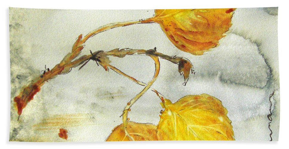 Aspen Leaves Watercolor Hand Towel featuring the painting Aspen Leaves by Dawn Derman