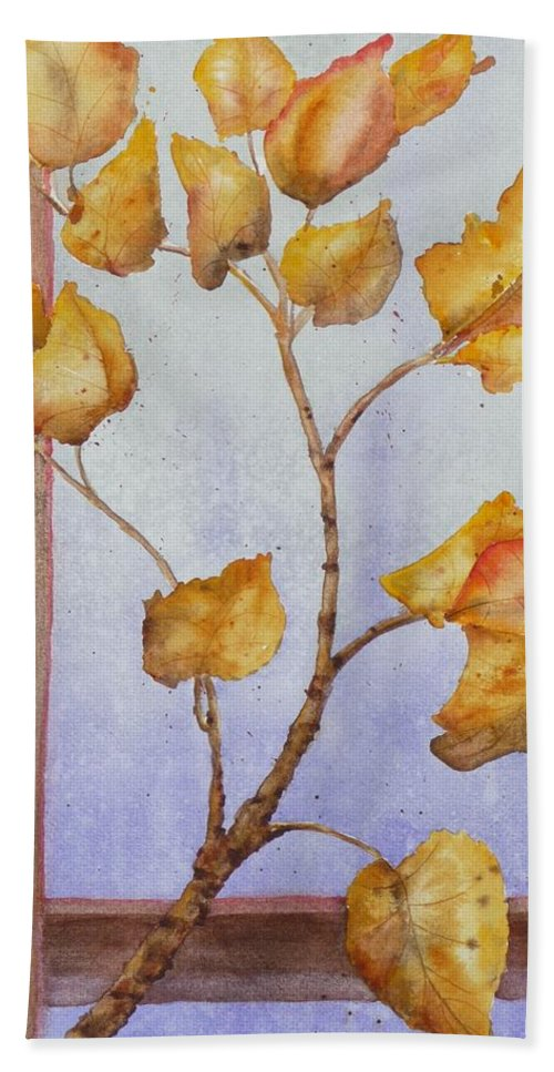 Leaves Bath Towel featuring the painting Aspen by Ruth Kamenev