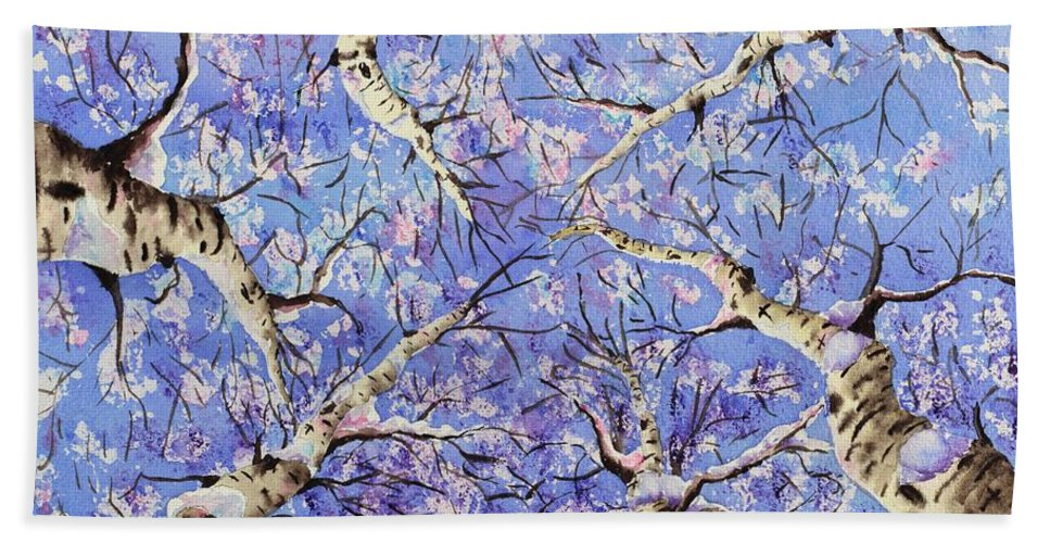 Aspen Hand Towel featuring the painting Aspen Winter Wonderland by Corynne Hilbert