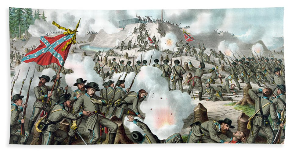 Civil War Hand Towel featuring the painting Assault On Fort Sanders by War Is Hell Store