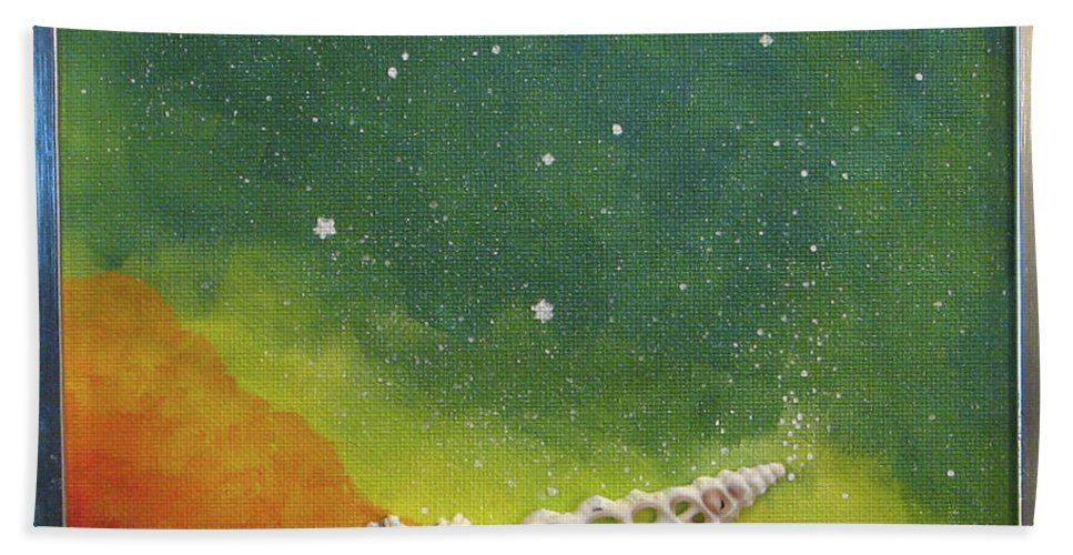 Shell Sea Ocean Stars Beach Blue Yellow Orange Bath Towel featuring the painting Assisted Nucleation by Beth Waltz