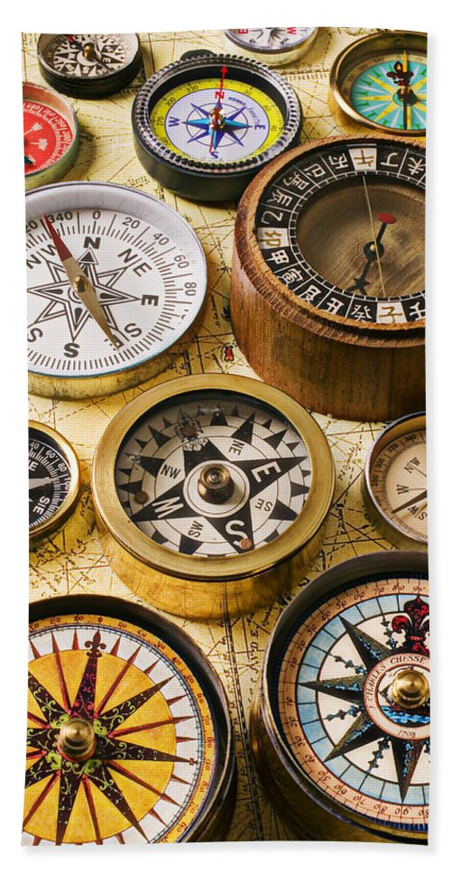 Compass Bath Sheet featuring the photograph Assorted Compasses by Garry Gay