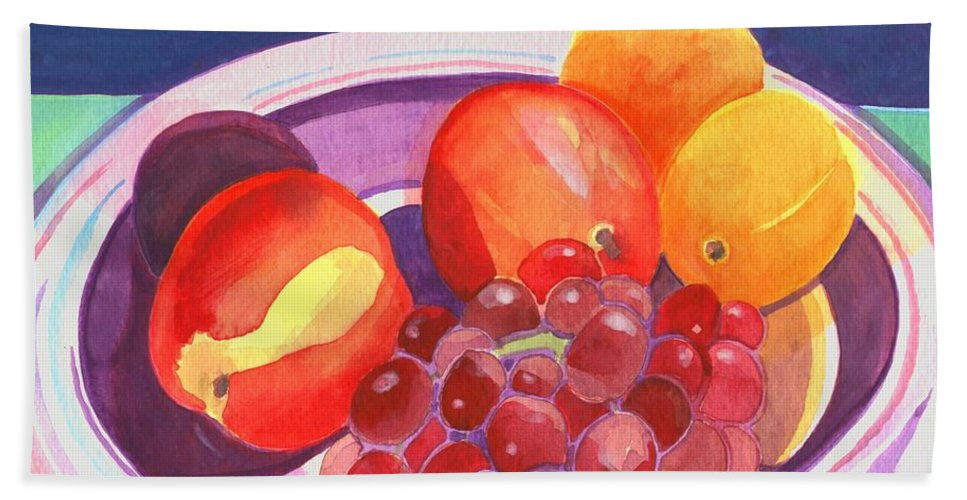 Grape Bath Towel featuring the painting Assorted Fruit by Helena Tiainen