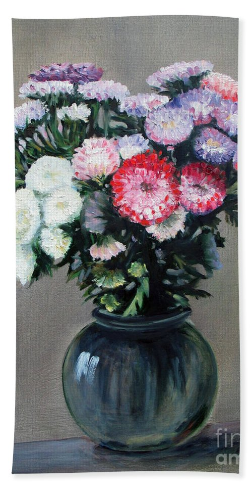 Flowers Bath Towel featuring the painting Asters by Paul Walsh