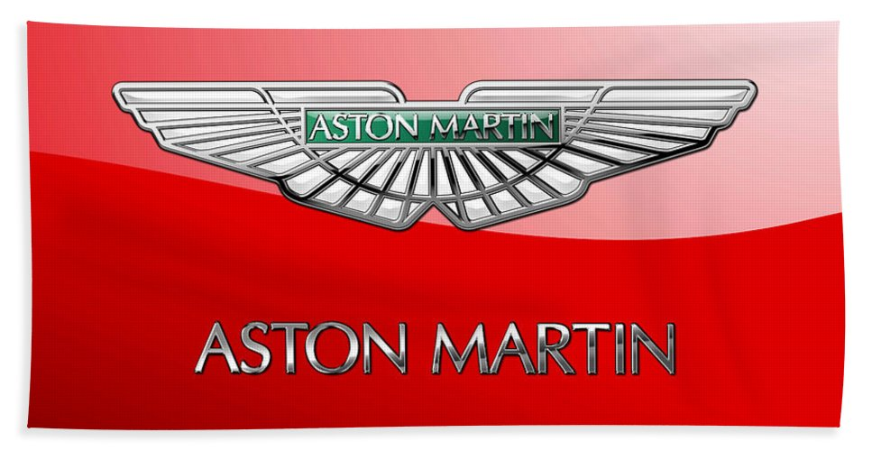 Wheels Of Fortune� Collection By Serge Averbukh Hand Towel featuring the photograph Aston Martin - 3 D Badge on Red by Serge Averbukh