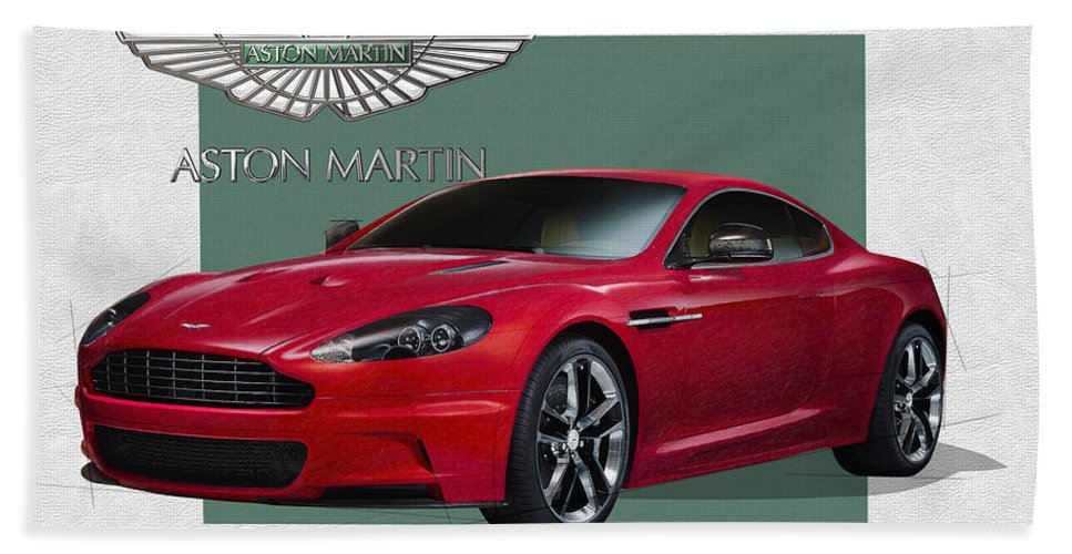 �aston Martin� By Serge Averbukh Bath Towel featuring the photograph Aston Martin D B S V 12 with 3 D Badge by Serge Averbukh