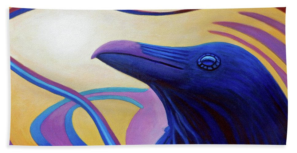 Raven Hand Towel featuring the painting Astral Raven by Brian Commerford