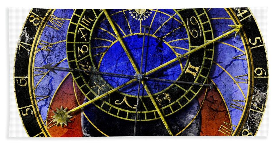 Grunge Bath Sheet featuring the digital art Astronomical Clock In Grunge Style by Michal Boubin