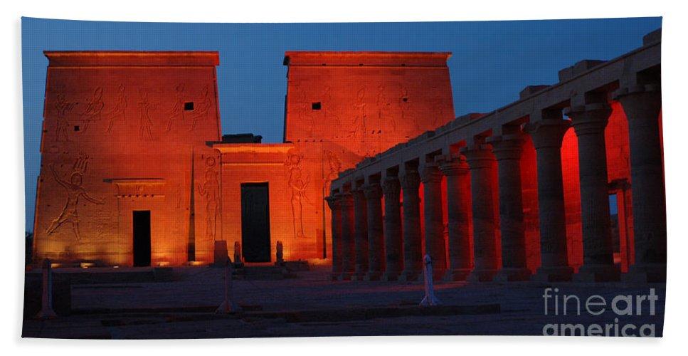 Aswan Bath Sheet featuring the photograph Aswan Temple Of Philea Egypt by Bob Christopher
