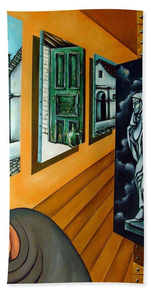 Surreal Hand Towel featuring the painting Asylum by Valerie Vescovi