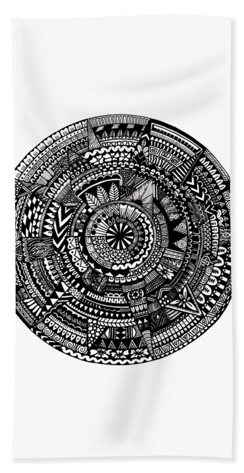 Mandala Bath Sheet featuring the digital art Asymmetry by Elizabeth Davis