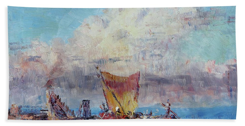 Frederick Mccubbin Bath Towel featuring the painting At Colombo by Frederick Mccubbin