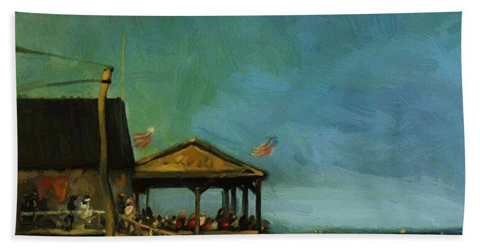 At Bath Sheet featuring the painting At Far Rockaway 1902 by Henri Robert