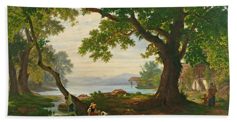 Robert Zuend Hand Towel featuring the painting At Lake Sempach by Robert Zuend