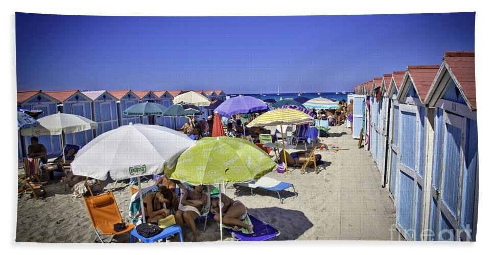 Mondello Beach Hand Towel featuring the photograph At Mondello Beach - Sicily by Madeline Ellis