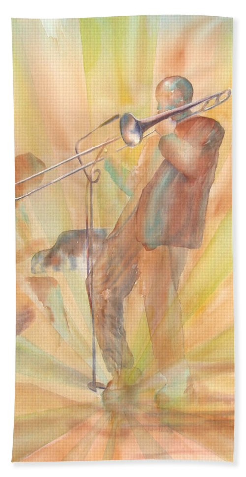 Watercolor Hand Towel featuring the painting At One With The Music by Debbie Lewis