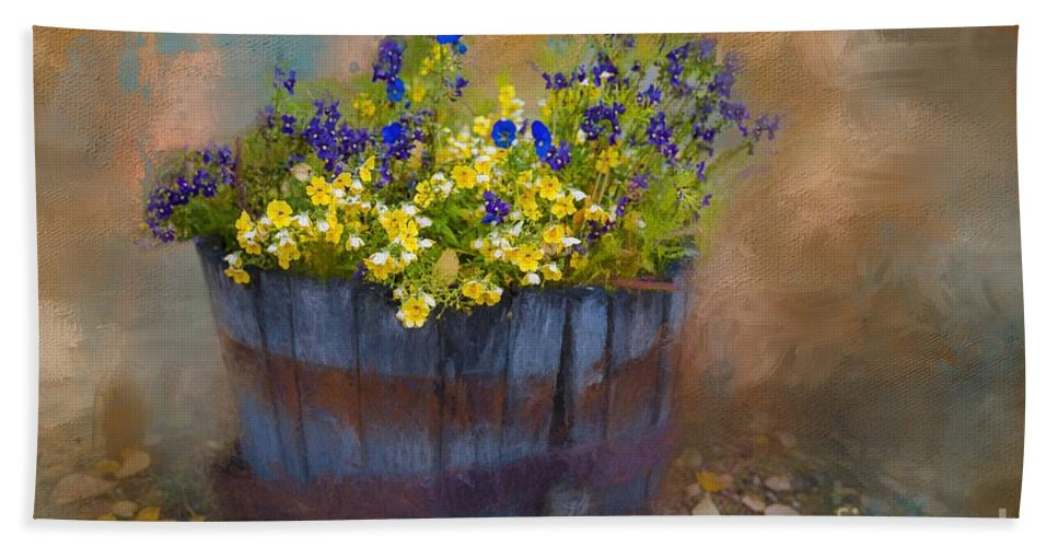 Pansies Hand Towel featuring the painting At Rika's Roadhouse by Eva Lechner