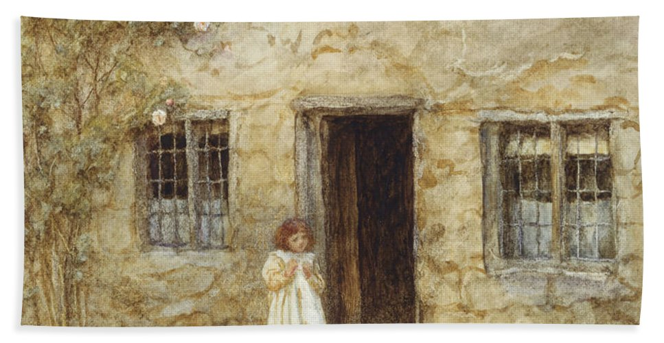 Exterior; Door; Child; Children; Girl; Victorian; C19th; C20th; Toddler; Climbing; Rose Bath Sheet featuring the painting At The Cottage Door by Helen Allingham