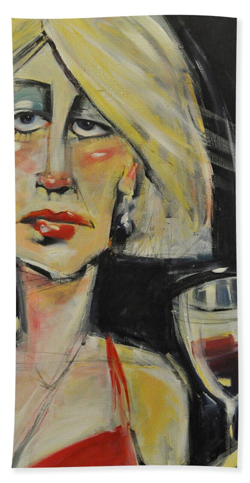 Woman Hand Towel featuring the painting At The Gala - Reprise by Tim Nyberg