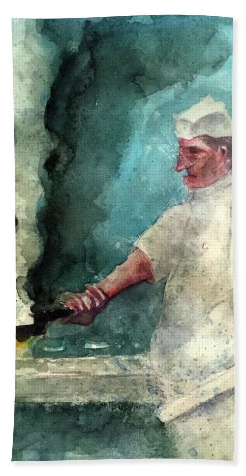 Bath Sheet featuring the painting At The Griddle by Michael Rome