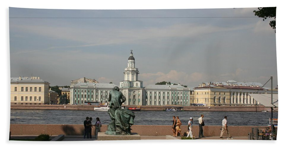 River Hand Towel featuring the photograph At The Newa - St. Petersburg Russia by Christiane Schulze Art And Photography