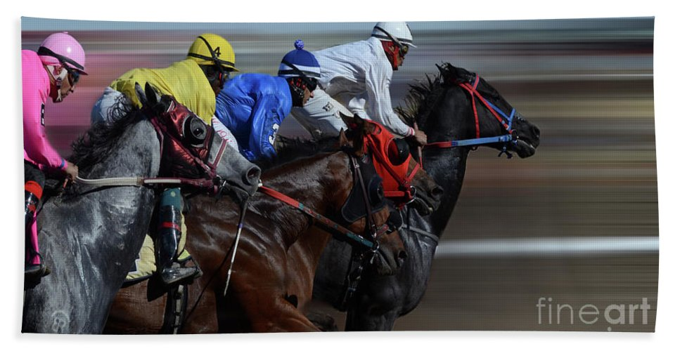 Race Hand Towel featuring the photograph At The Racetrack 1 by Bob Christopher