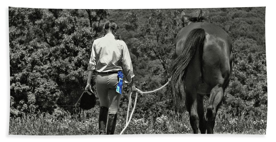 Horse Bath Sheet featuring the photograph At The Show Blue Ribbon by JAMART Photography