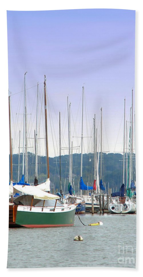 Seascape Hand Towel featuring the photograph At The Yacht Club by Todd Blanchard