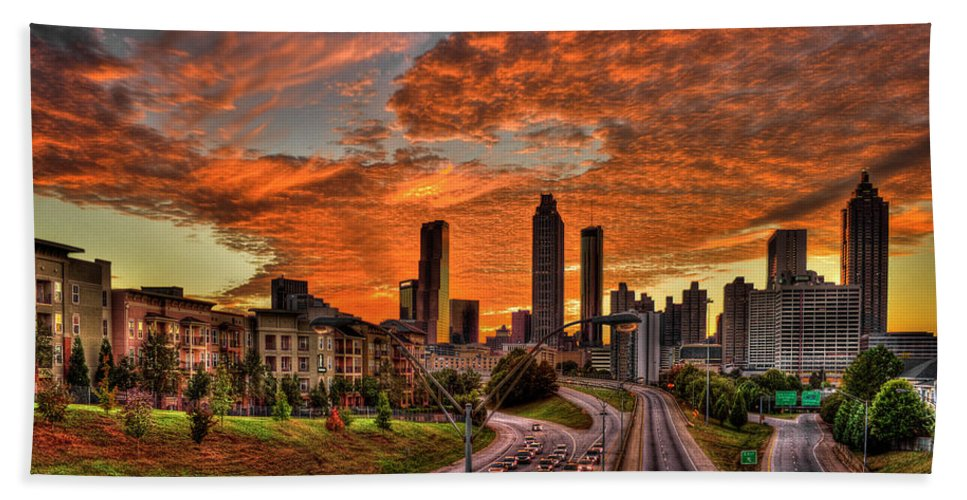 Reid Callaway Orange Atlanta Sunset Bath Sheet featuring the photograph Atlanta Orange Clouds Sunset Capital Of The South by Reid Callaway