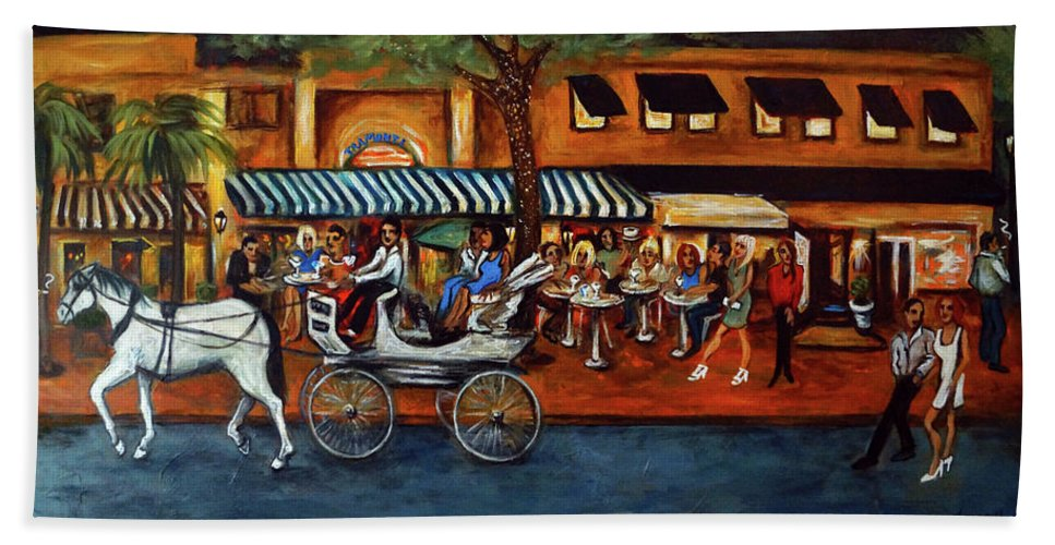 Horse & Buggy Bath Towel featuring the painting Atlantic Avenue by Valerie Vescovi