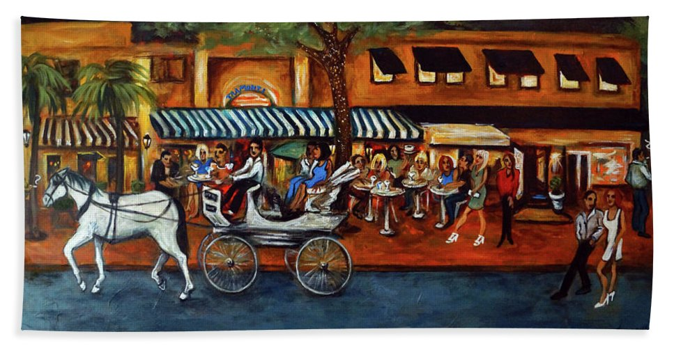 Horse & Buggy Hand Towel featuring the painting Atlantic Avenue by Valerie Vescovi