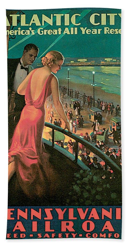 Edward Egglesston Bath Sheet featuring the painting Atlantic City Pennsylvania Railroad by Edward Egglesston