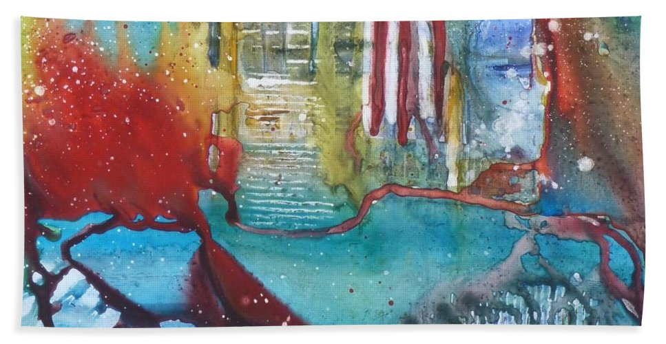 Abstract Hand Towel featuring the painting Atlantis Crashing Into The Sea by Ruth Kamenev