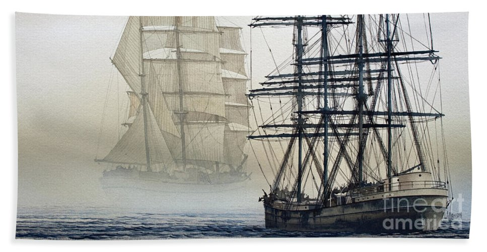 Tall Ship Print Bath Sheet featuring the painting Atlas And Inverclyde by James Williamson