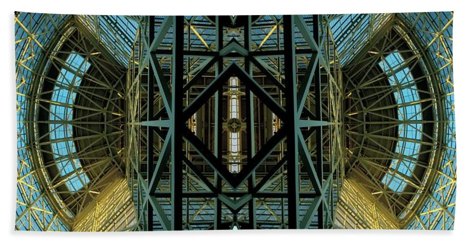 Abstract Bath Sheet featuring the photograph Atrium by Rachel Dunn