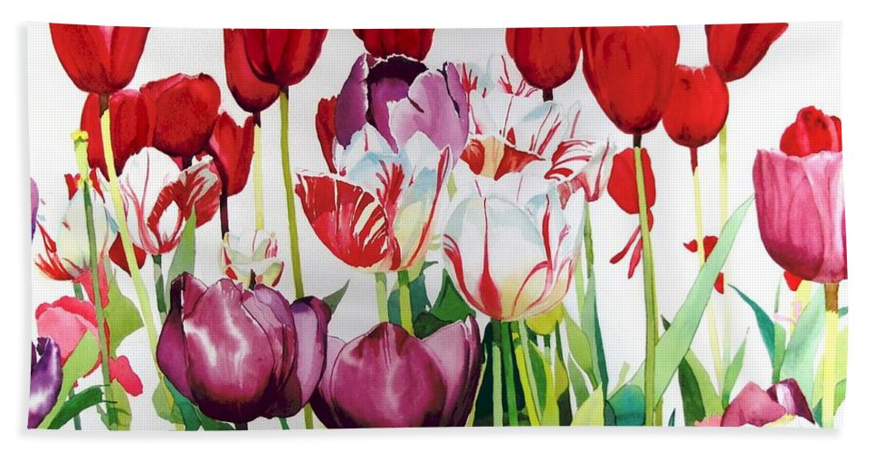 Tulips Bath Towel featuring the painting Attention by Elizabeth Carr