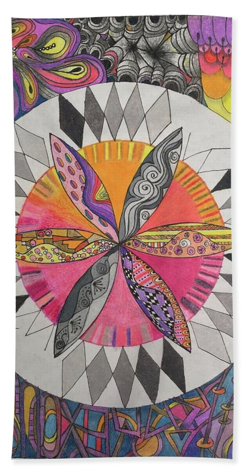 Colored Pencil Hand Towel featuring the drawing Attracted by Suzanne Udell Levinger