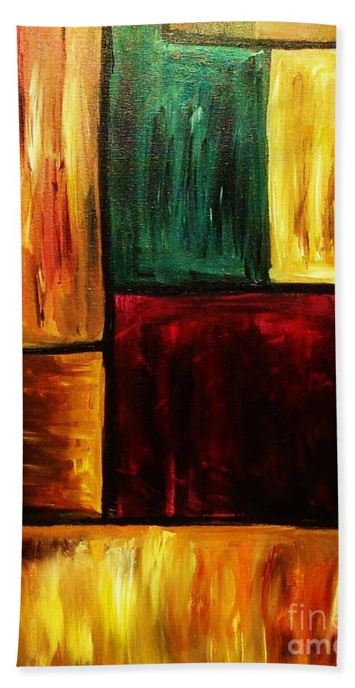 Abstract Hand Towel featuring the painting Attractive by Yael VanGruber