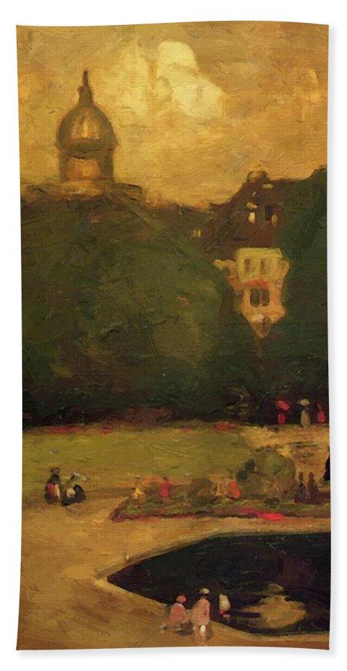 Au Bath Sheet featuring the painting Au Jardin Du Luxembourg 1899 by Henri Robert