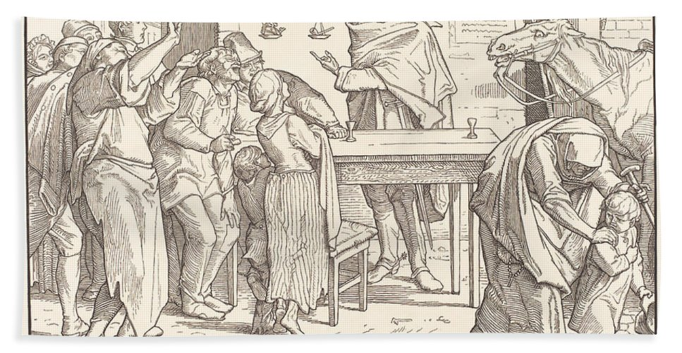 Hand Towel featuring the drawing Auch Ein Todtentanz IIi by Alfred Rethel