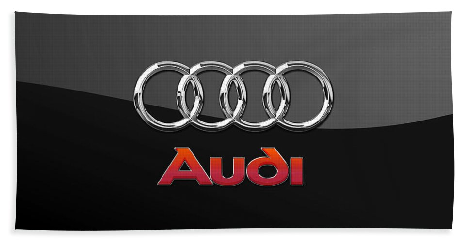 'wheels Of Fortune' Collection By Serge Averbukh Bath Towel featuring the photograph Audi 3 D Badge On Black by Serge Averbukh