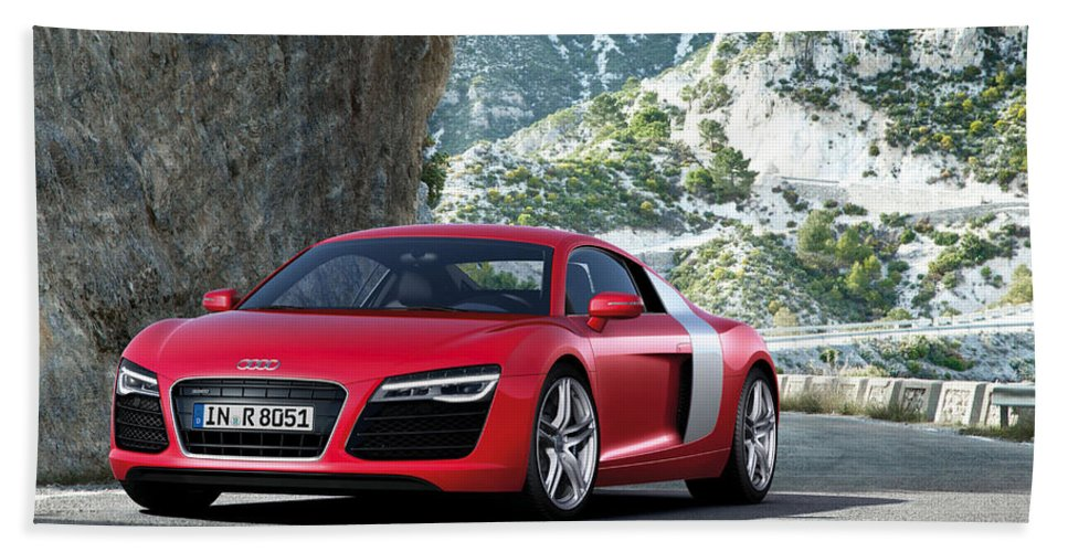 Audi R8 Hand Towel featuring the digital art Audi R8 by Zia Low