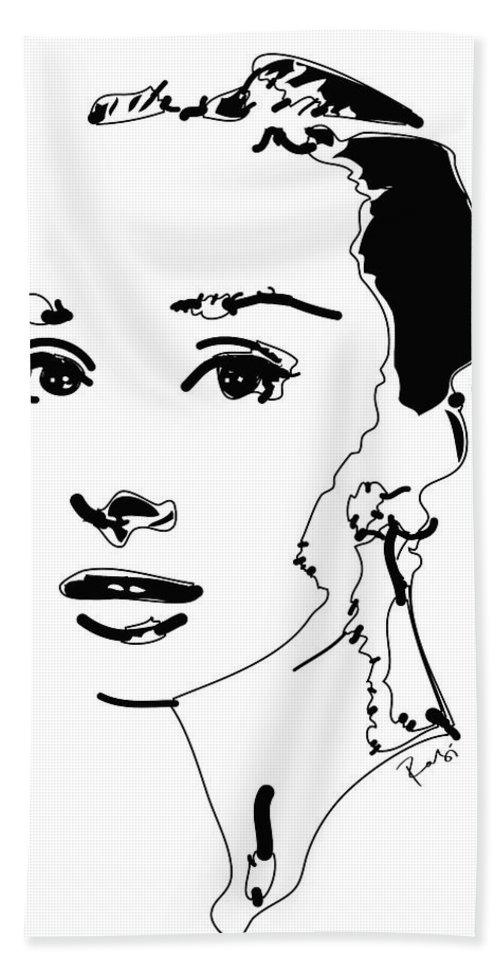 Actress Bath Towel featuring the digital art Audrey Hepburn by Rabi Khan