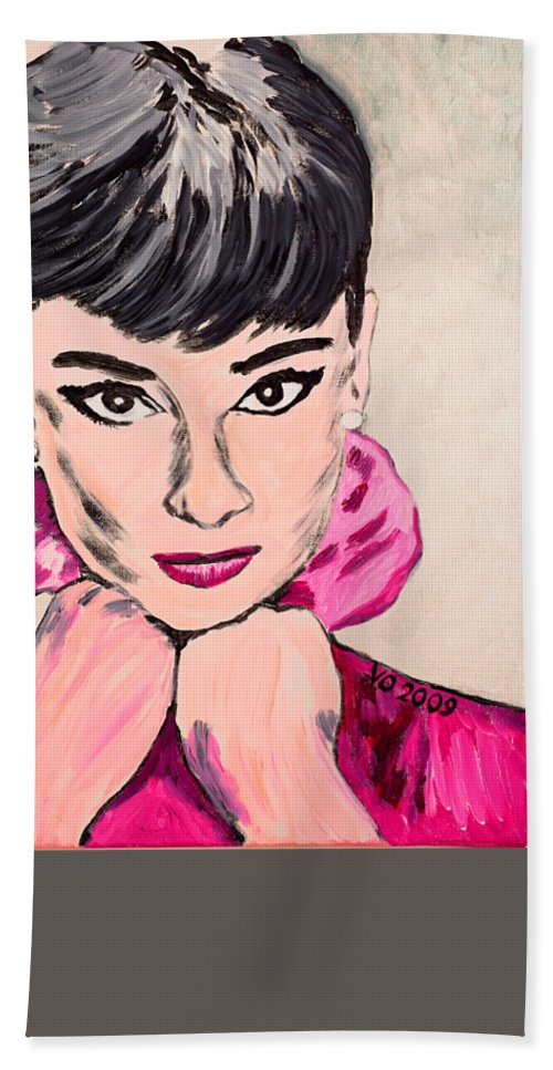 Portrait Bath Towel featuring the painting Audrey Hepburn by Valerie Ornstein