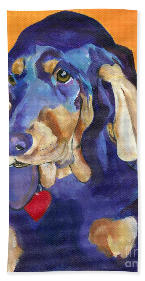 Bloodhound Bath Towel featuring the painting Augie by Pat Saunders-White