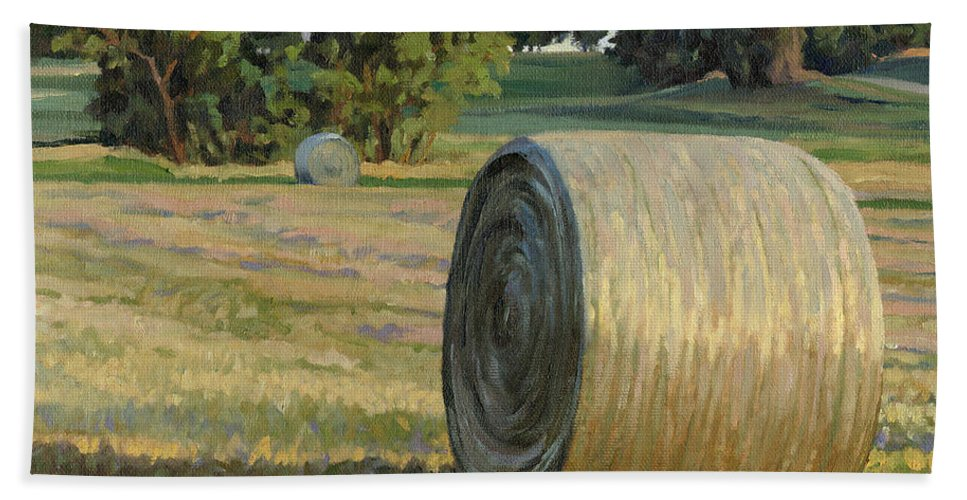Landscape Bath Sheet featuring the painting August Bales by Bruce Morrison