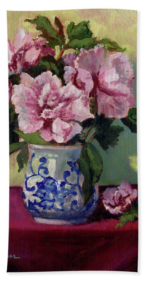 Impressionism Hand Towel featuring the painting August Blossoms by Keith Burgess