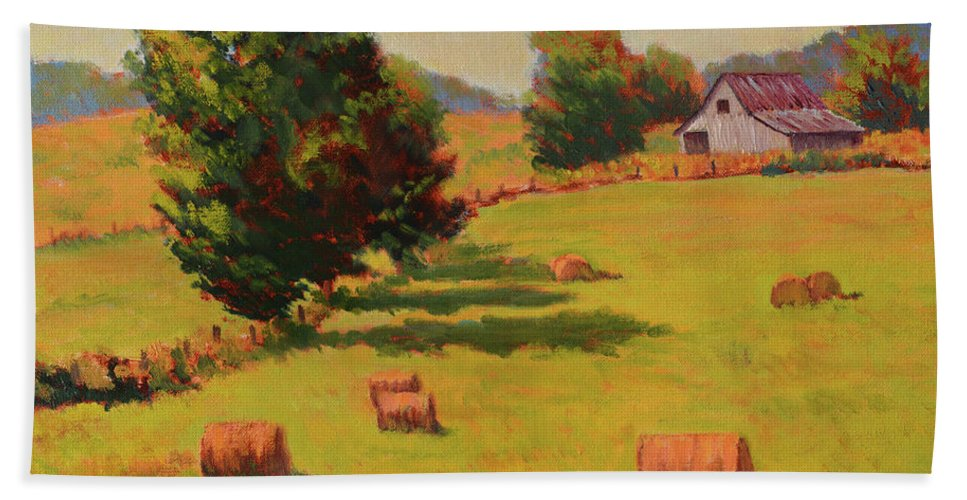 Impressionism Bath Sheet featuring the painting August Hay Field by Keith Burgess