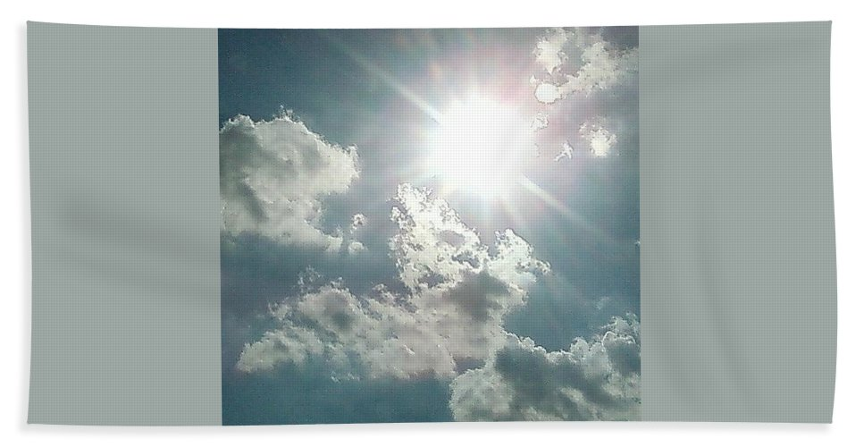 Sun Clouds August Sunshine Bath Sheet featuring the photograph August Sun by Cindy New