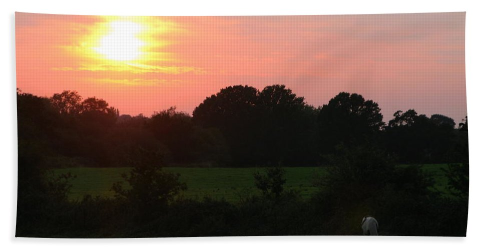 August Hand Towel featuring the photograph August Sunset by Maria Joy
